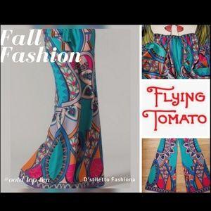 FLYING TOMATO Boho Vintage Wide Leg Palazzo Pants